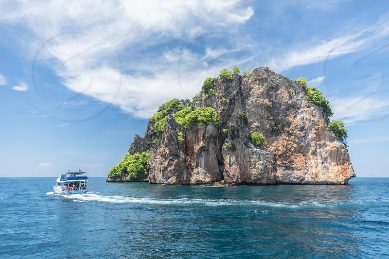 Thailand koh phi phi island rocks ocean water boat diving snorkeling travel photo