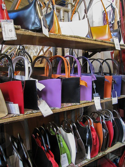 Purses in the leather market of Florence Italy photo