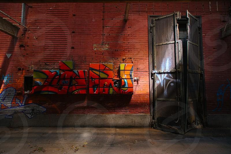 urban exploration abandoned warehouse door photo