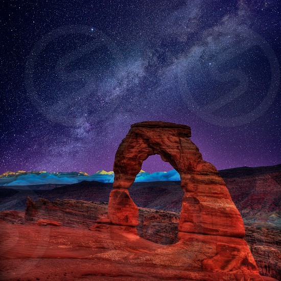Arches National Park Delicate Arch milky way night sky in Moab Utah USA photo mount photo