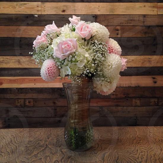 pink white rose daisy floral arrangement photo