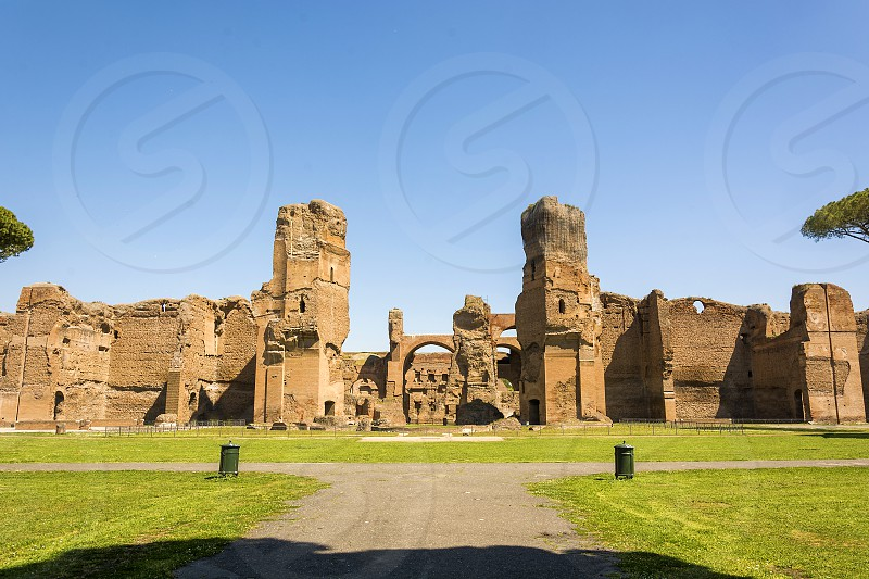 The Baths of Caracalla in Rome Italy were the second largest Roman public baths or thermae built in Rome between AD 212 (or 211) and 217 during the reigns of Septimius Severus and Caracalla. They would have had to install over 2000 t (2000 long tons; 2200 short tons) of material every day for six years in order to complete it in this time. Records show that the idea for the baths were drawn up by Septimius Severus and merely completed or opened in the lifetime of Caracalla. photo