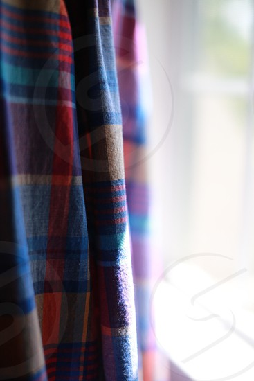 blue red and beige plaid patterned curtains photo