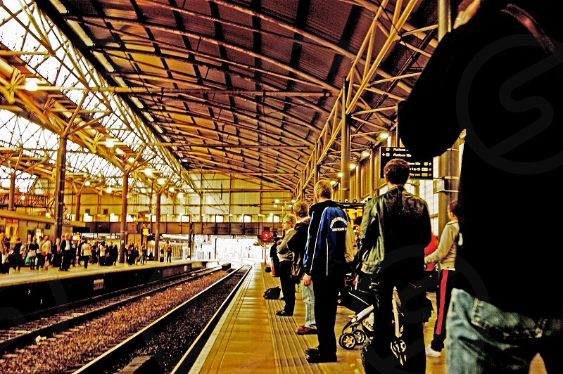 LEEDS. Leeds City station passengers waiting for the Manchester train.  photo
