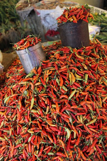 Allot of hot peppers on a market in Indonesia. They like hot food. photo