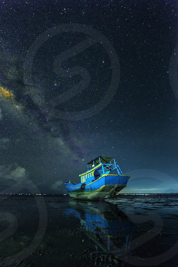 galaxy star boat night sea beach vietnam photo