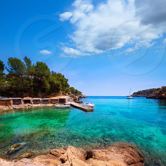 Ibiza Cala Mestella Mastella in Santa Eulalia del Rio at Balearic islands photo