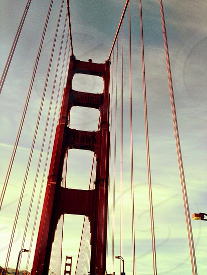 Driving over the Golden Gate Bridge in San Francisco California photo