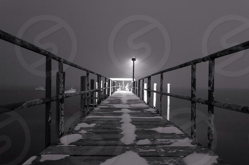 Snowy Pier Swampscott MA photo