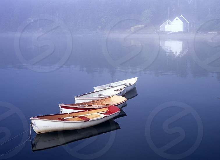 Skiffs and boathouse in a foggy cove in Maine. Dory dories boats boats in the fog fog foggy. photo