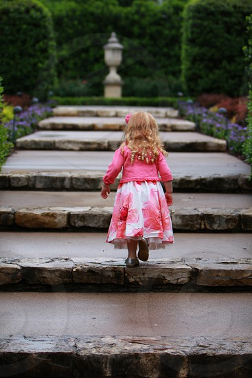 Gardens steps stairs secret gardens rain dresses little girl photo