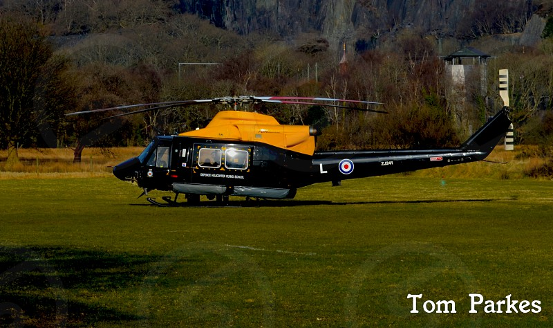 RAF griffin helicopter on llanberis football field photo