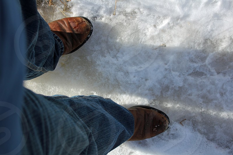 Not the right shoes for the conditions photo