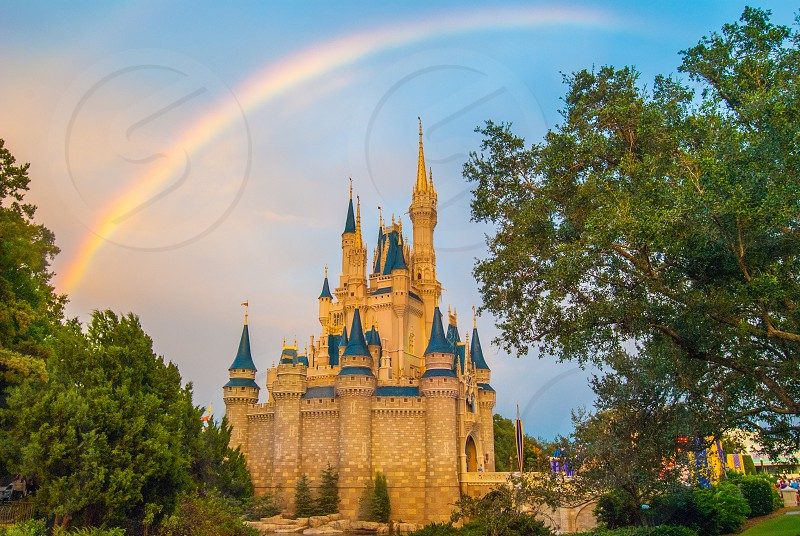 Disney World Magic Kingdom Orlando Florida Cinderella's Castle Rainbow travel vacation  photo