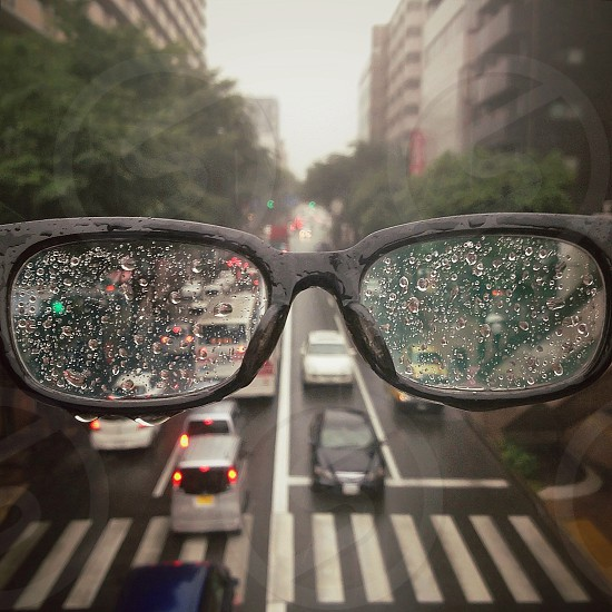 Black framed eyeglasses photo