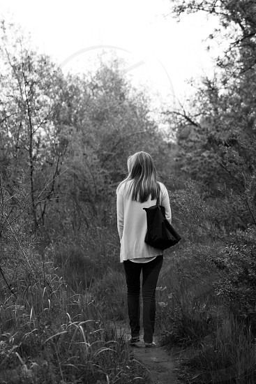 woods woman black and white purse  photo