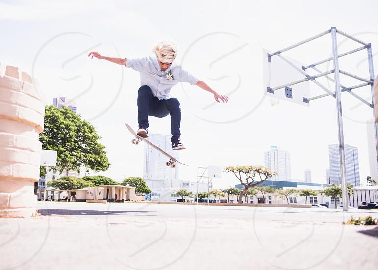 Skate boarding in Kakaako area of Honolulu. photo