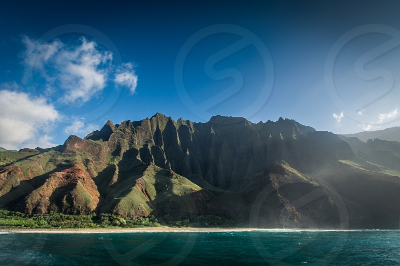 This is a beautiful shot of the Na Pali Coast on Kauai in Hawaii.  photo