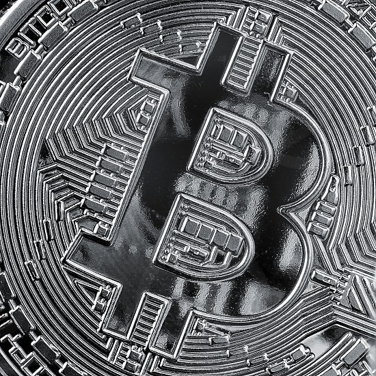 bitcoin background. Cryptocurrency and blockchain trading concept. photo