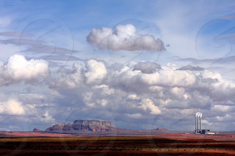 Arizona Page Lake Powell clouds power plant desert sandstone butte photo