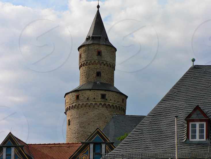 Witch tower Idstein  Germany. Built 1170.  42 m  tall walls more than 3 m thick. Idstein was notorious for its witch trials about 1676. photo