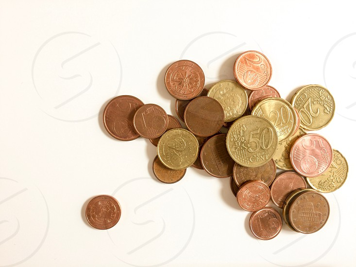 Group of euro coins photo