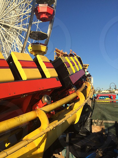 roller coaster ride and ferris wheel photo
