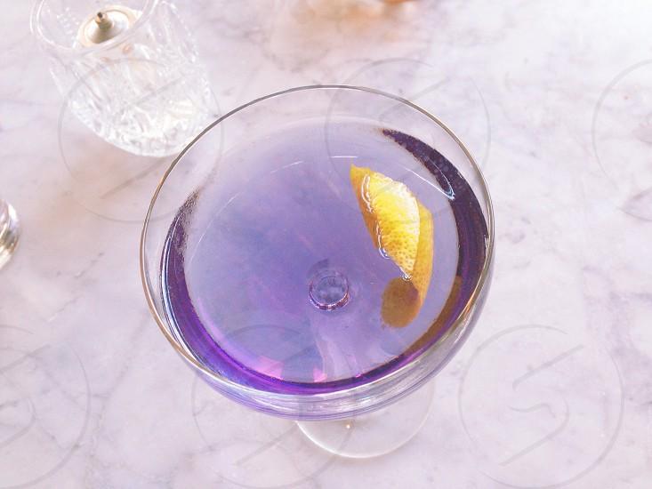 cocktail purple creme de violette violet girly fancy marble lifestyle lemon twist bartender  photo