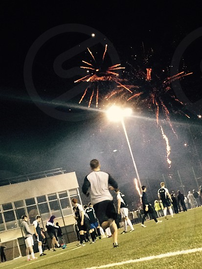 Football Match/Fireworks  photo