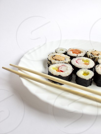 Sushi healthy food Japanese meal plate  photo