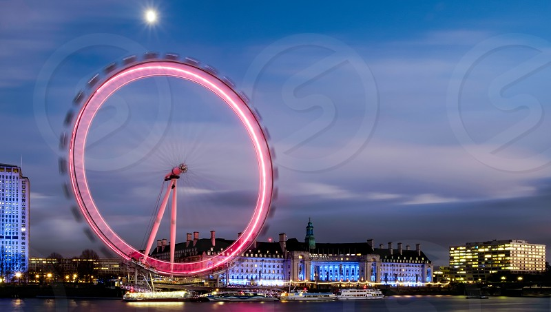 View of the London Eye at Night photo