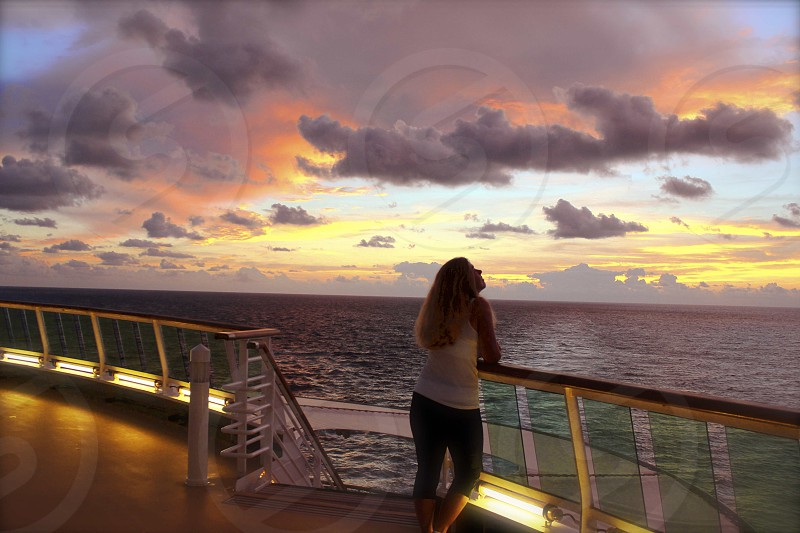 Sunrise on deck photo