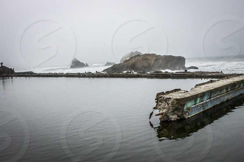 Water reflections at Sutro Baths.   photo