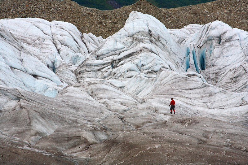 Climber on the Gates Glacier in Wrangell-St.Elias National Park Alaska. photo