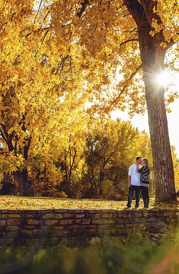 Couple fall colors kiss photo