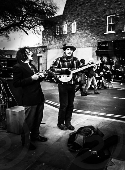 Hackney Buskers in Black and White photo