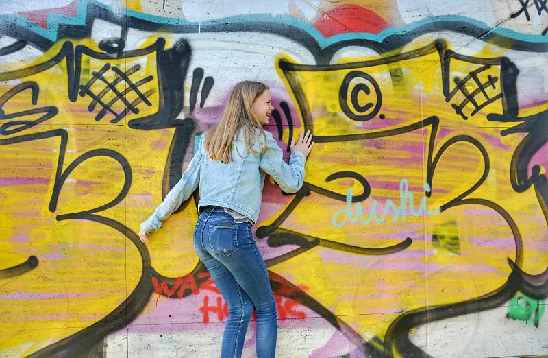 Teenager laughingsmile street-art graffitiraw puberty hanging out photo