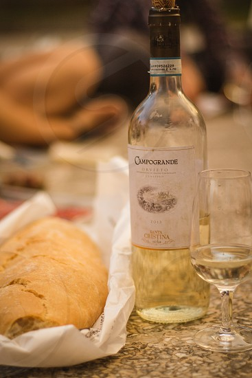 Tuscan dinner of bread and wine. photo