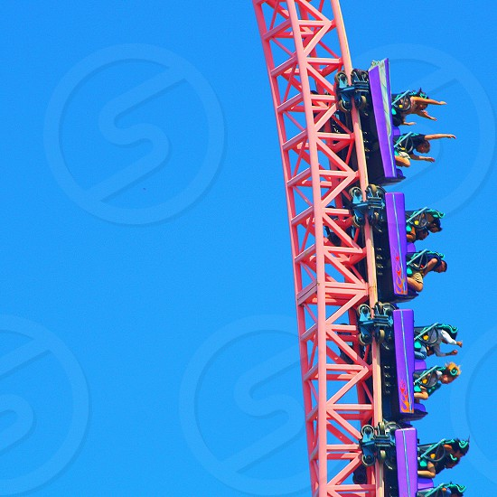 Vertical shot of people in a pink roller coaster waving their arms- against a blue sky photo