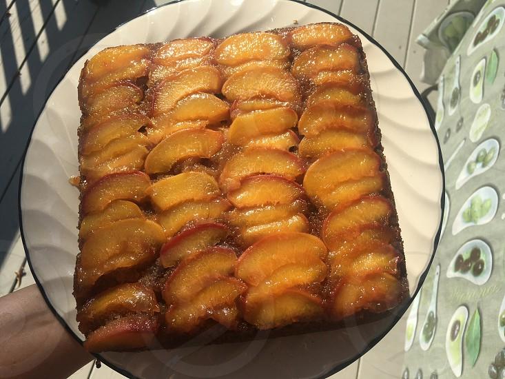 Cake; dessert; sweets; homemade; upside down cake; peach cakes; upside down peach cake photo