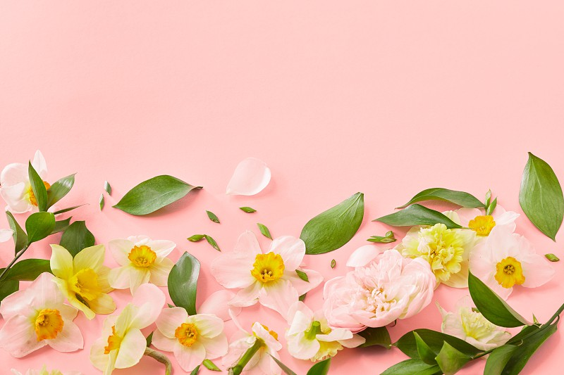 Blossiming pattern flowers with green leaves on a color background of the year 2019 Living Coral Pantone place for text. Wedding Women's Day. photo