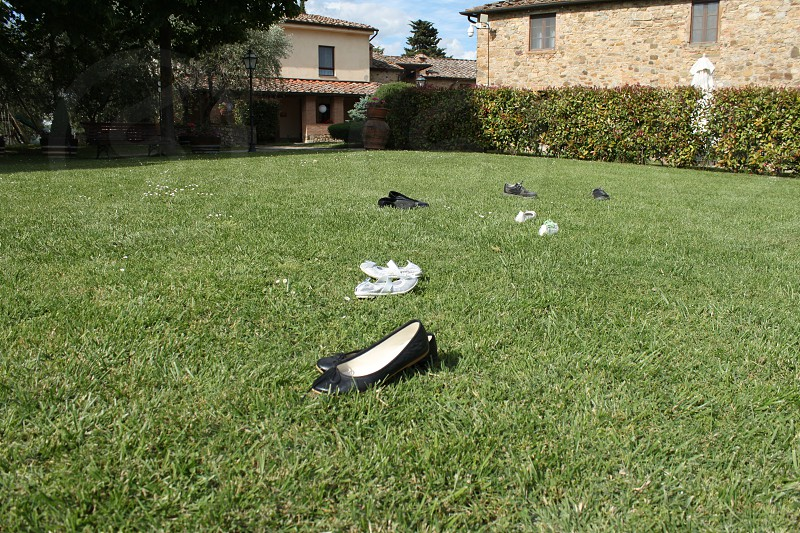Shoes in the garden photo