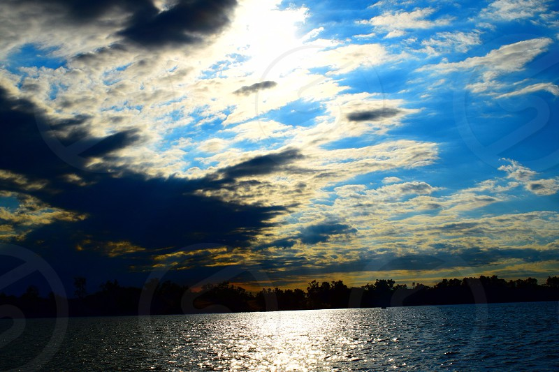 Lake rough sunset photo