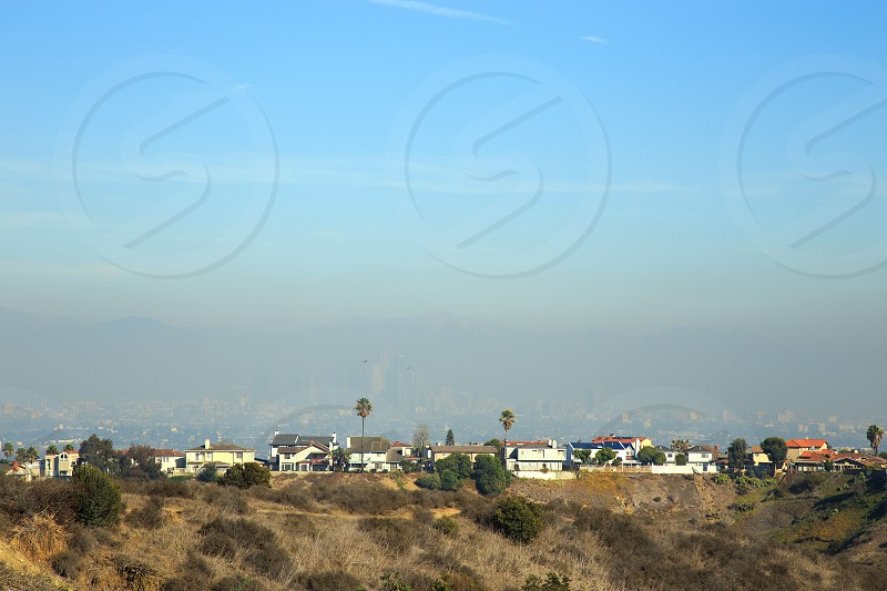 Sunny afternoon in west LA but can barely see the smoggy downtown LA. photo