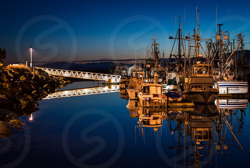 The harbor at night. photo