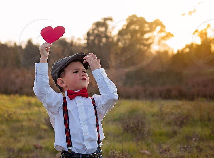 Cute boy ready for Valentines Day photo