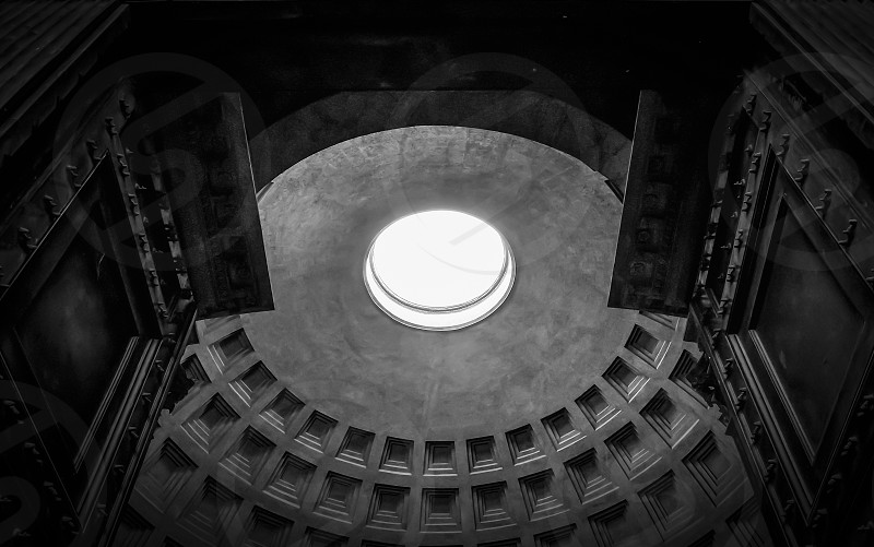 black and white view of the roman Pantheon photo