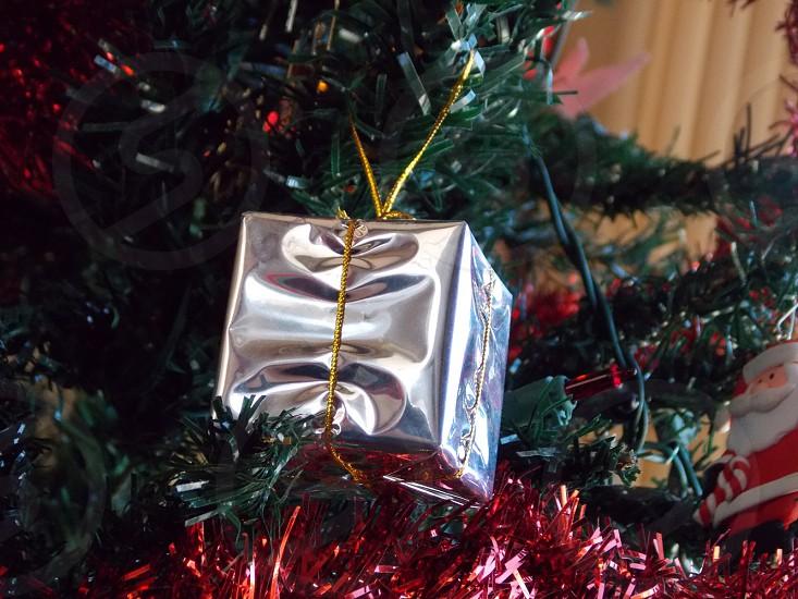 grey gift box christmas decor photo
