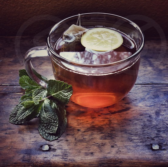 Hot Tea Brewing with Lemon and Fresh Mint photo