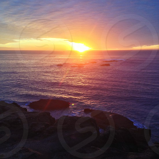Sunset near Devil's Punchbowl State Park Oregon. photo